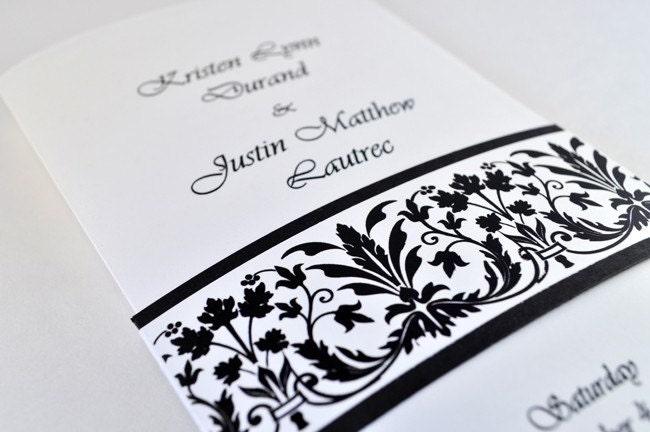 FLEUR Elegant Black and White Wedding Ceremony Program Sample Black