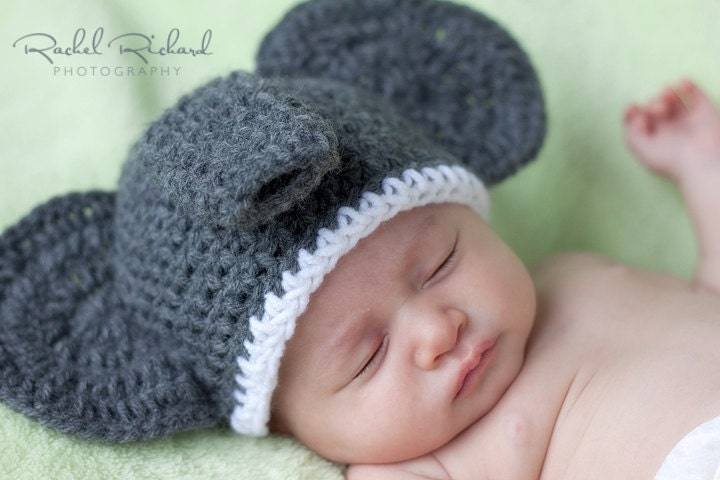 Crochet Pattern For Baby Elephant Hat : Items similar to PATTERN crochet Elephant Hat Pattern 6 ...