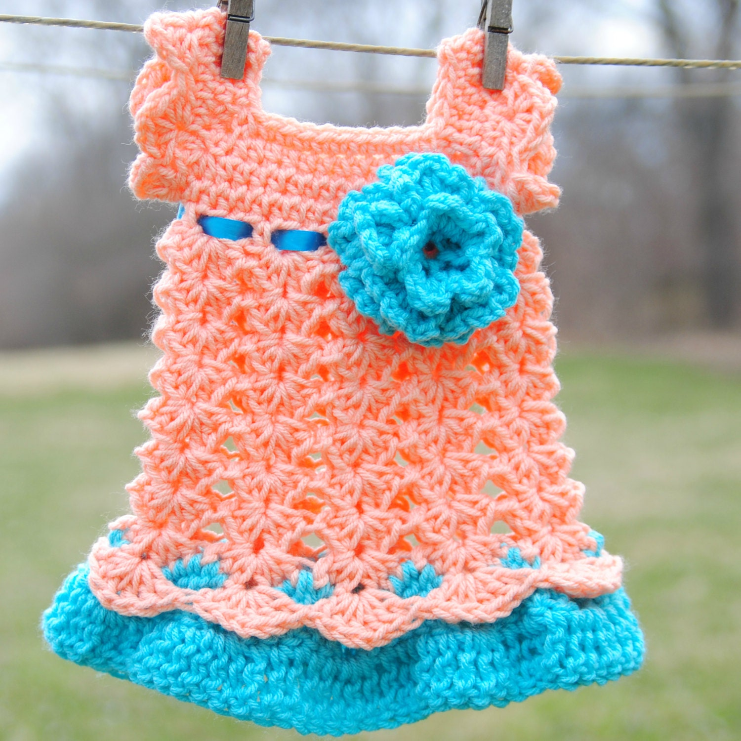 Newborn Dress Peach and Teal Infant Outfit Baby Girl by