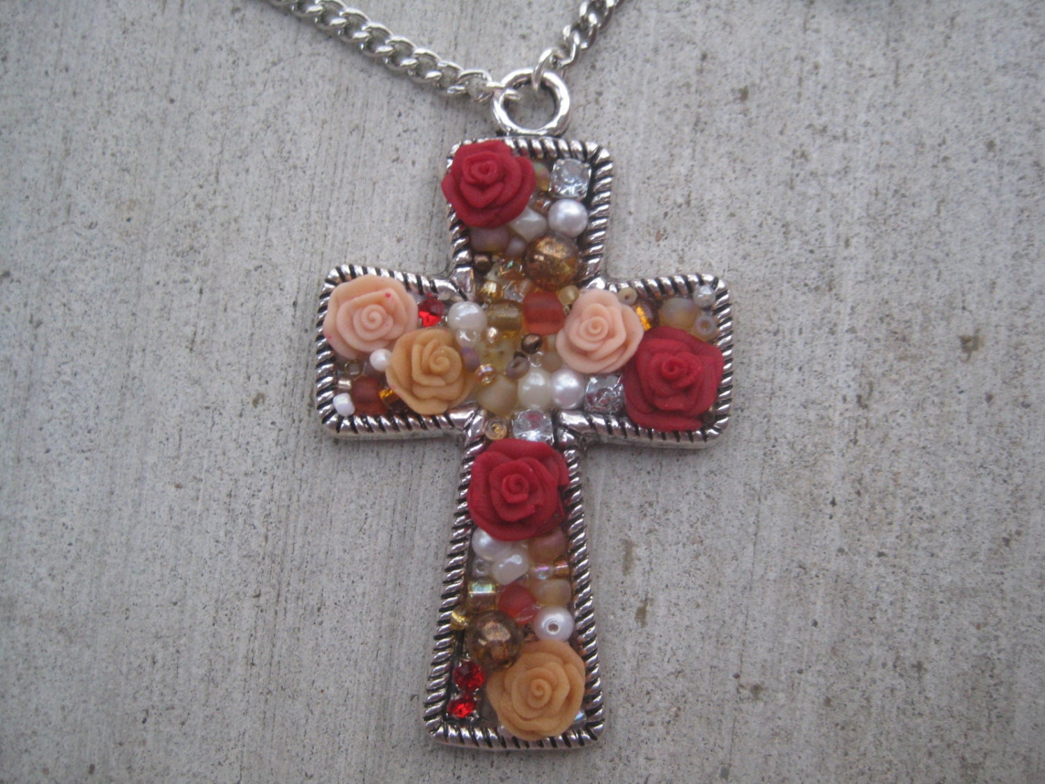 Dark Red and Beige Rose- Cross Pendant Necklace
