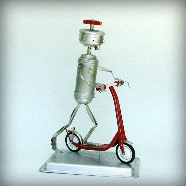 Wanna Race - robot sculpture - recycled art - ooak