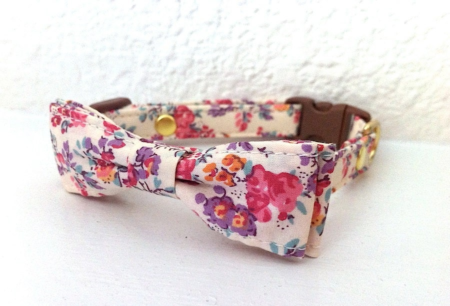 Liberty Floral French Bow Collar for Cats