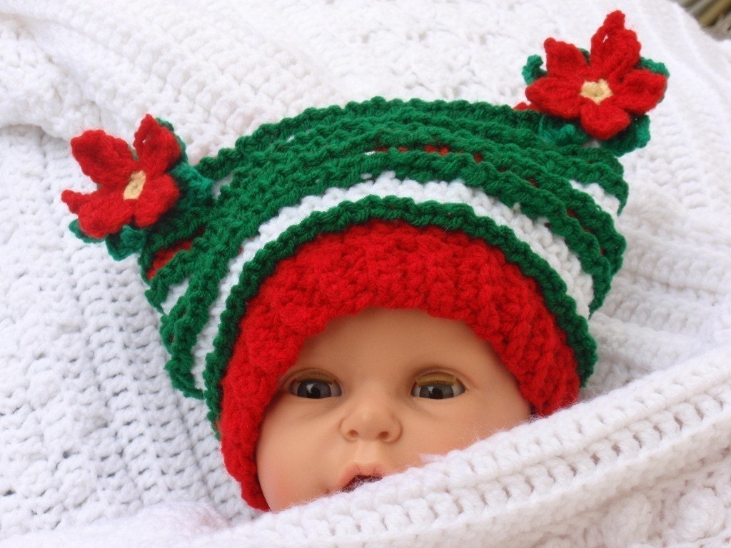 Baby Christmas Poinsetta Hat Crochet Pattern by ...