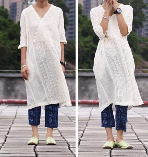 White Dress linen Cotton women dress long dress by ...