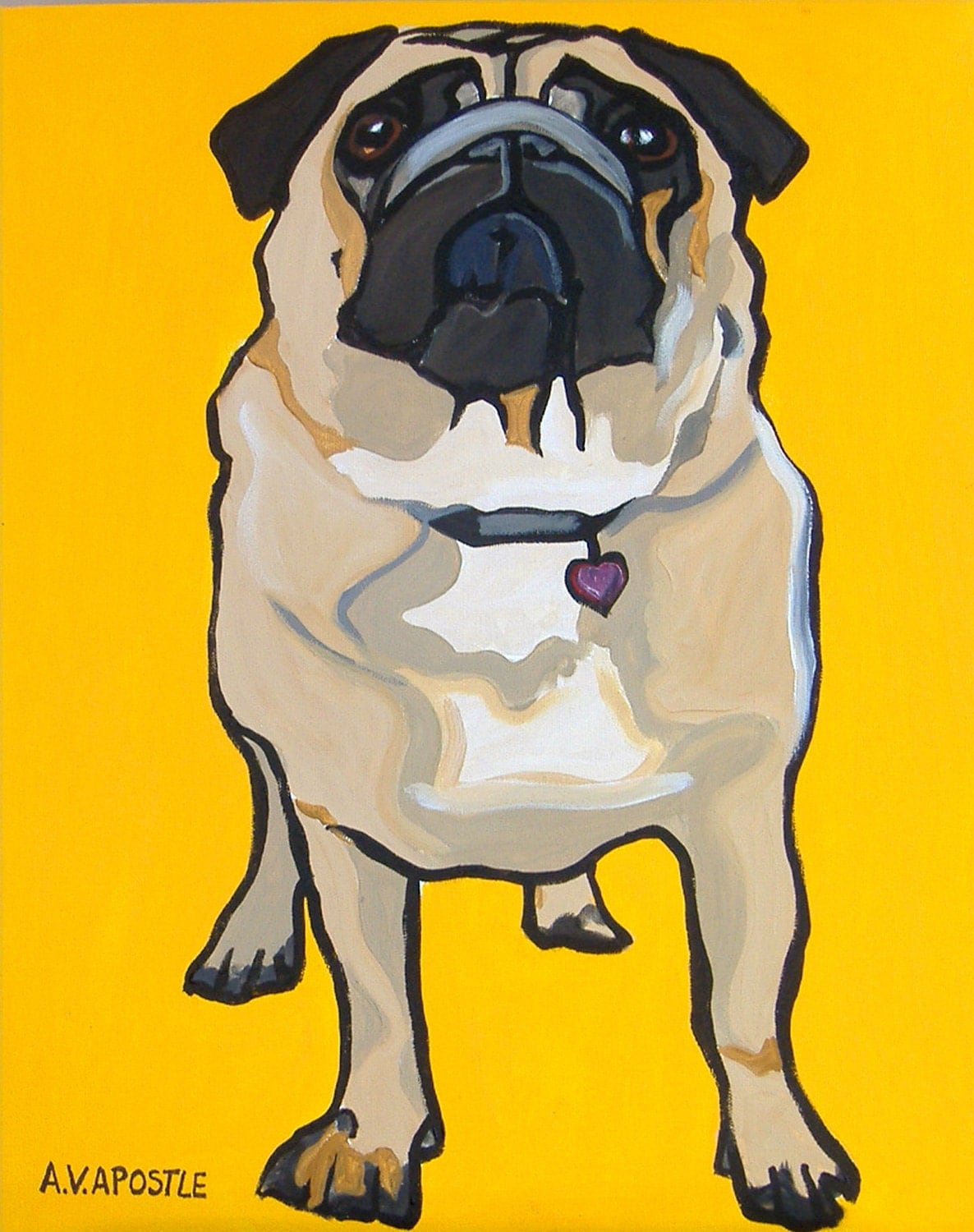 "POP ART PRINT- Pug Dog- Yellow Background- Signed by Artist A.V.Apostle- 8""x10"" - AVApostleDesign"