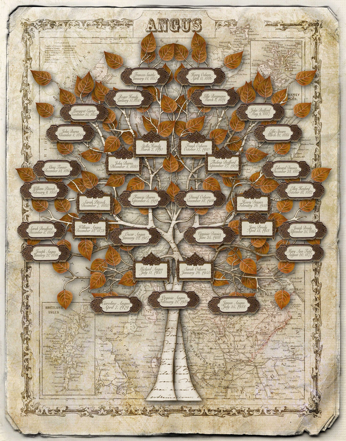 Scottish Family Tree Design - Labels on a Scottish Map