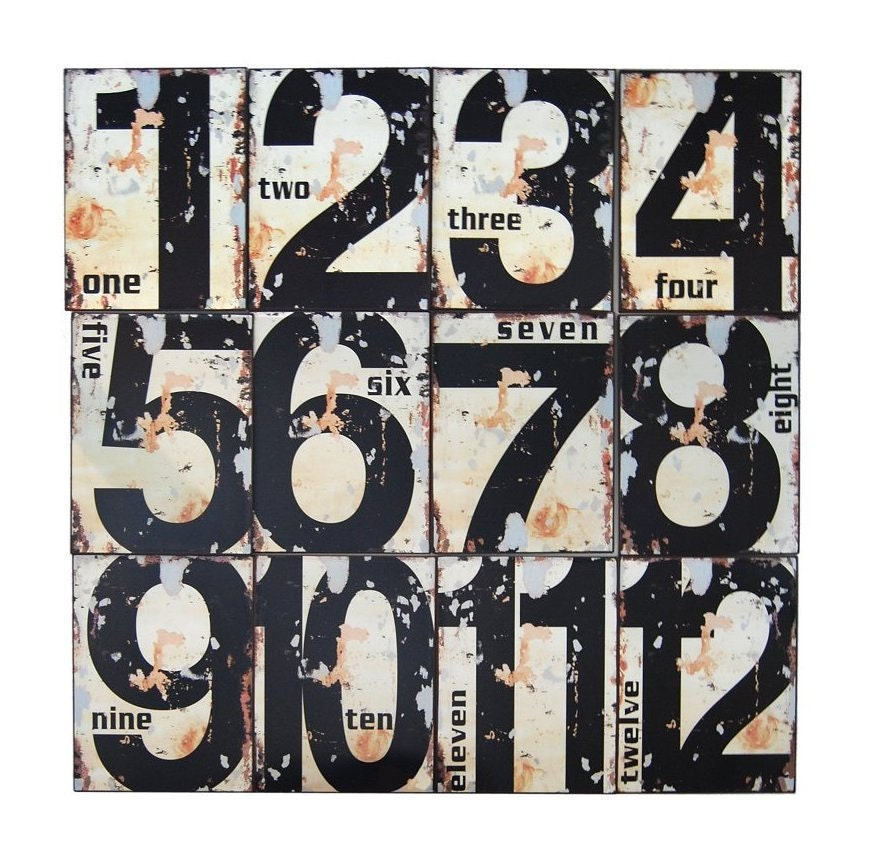 Wall Decor Metal Numbers : Items similar to antique rusted numbers grungy metal