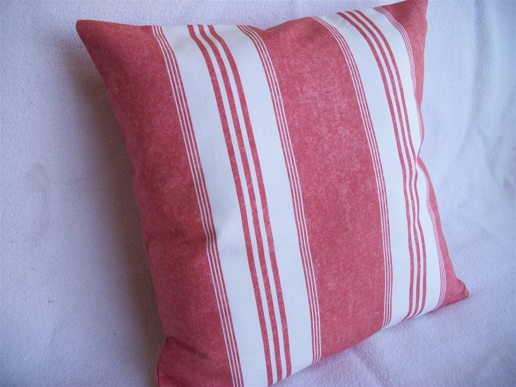 Coral Stripe Pillow Cover 16 x 16