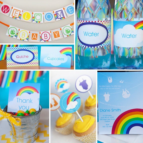 colorful rainbow baby shower full collection unisex instantly