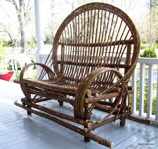 Twig Willow Porch Swing - Hand crafted rustic furniture