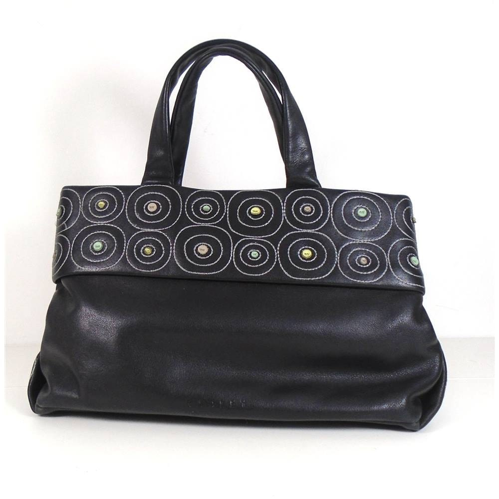 3 Days Final Sale  RADLEY Black Buttersoft Leather Bag with Circle Stitch Detail