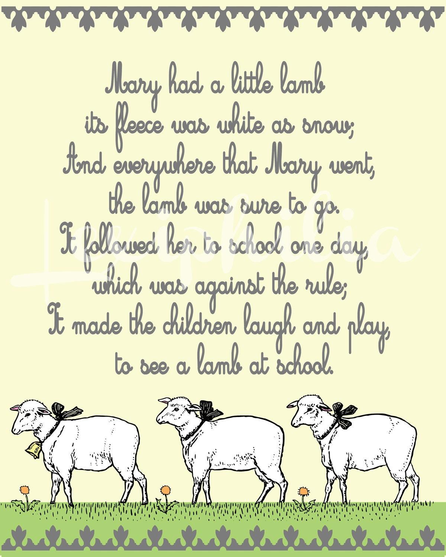 Nursery Rhyme Mary Had A Little Lamb Art By Lexiphilia