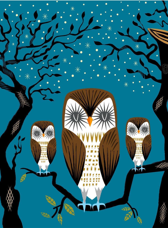 Three Lazy Owls - Animal Art  Limited Edition Print