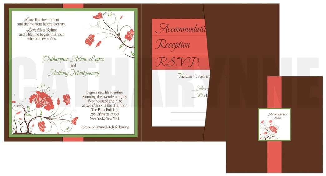 Pocketfold Wedding Invitation in Coral and Brown From catharynne