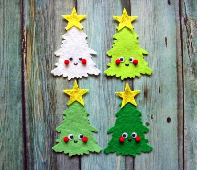 "CHRISTMAS TREE CUTIES; 1 x Large 4"" Cute Handmade Cartoon Cutie Felt Tree Embellishment for Scrapbooking and diy projects - byChantalVandenberg"