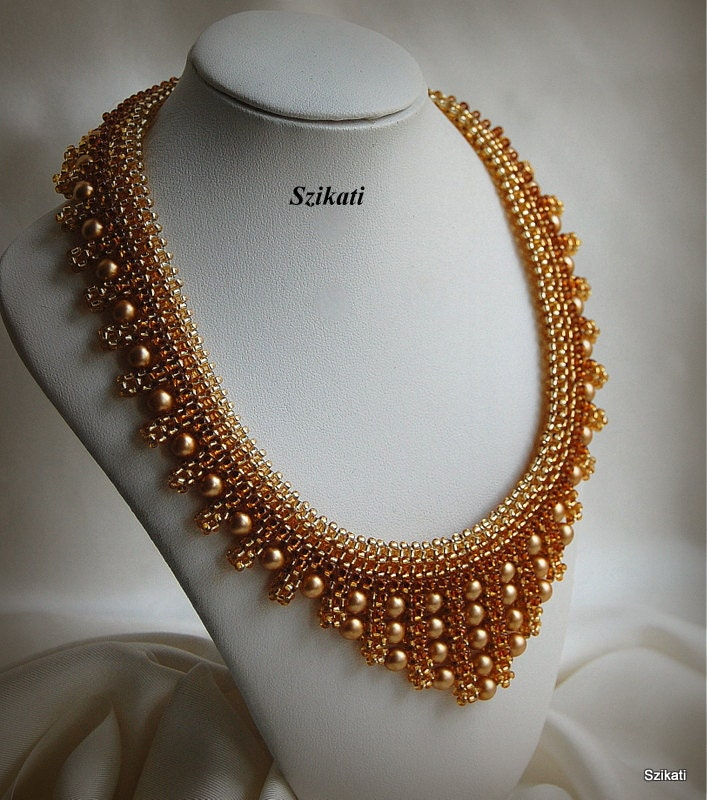 items similar to beaded gold honey brown seed bead