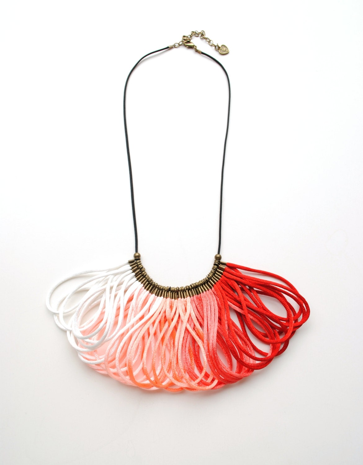 Ombre Red White Coral Peach Salmon Satin Cord, Rope Jewelry, Statement Necklace, Bib, Elegant, Silk, Gift for Her - elfinadesign