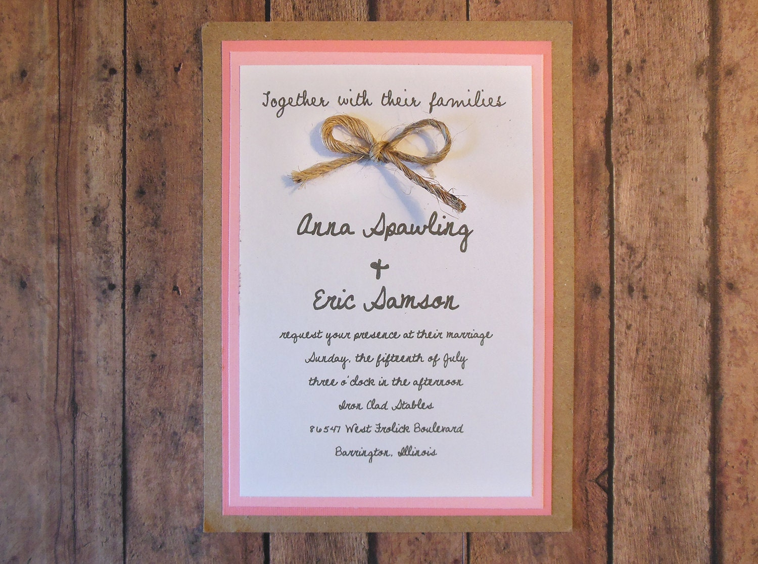 Diy pink rustic wedding invitation kit custom wedding invitation on