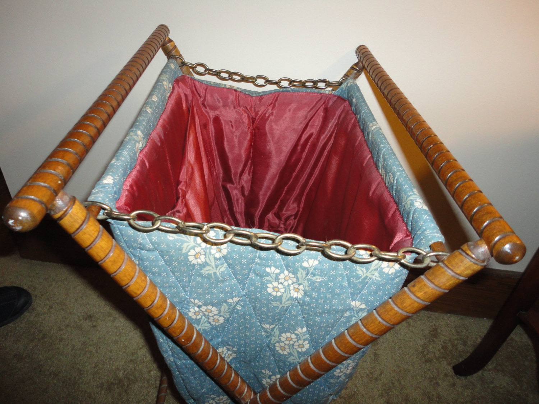 Vintage Folding Knitting Basket : Items similar to vintage knitting basket folding wood and