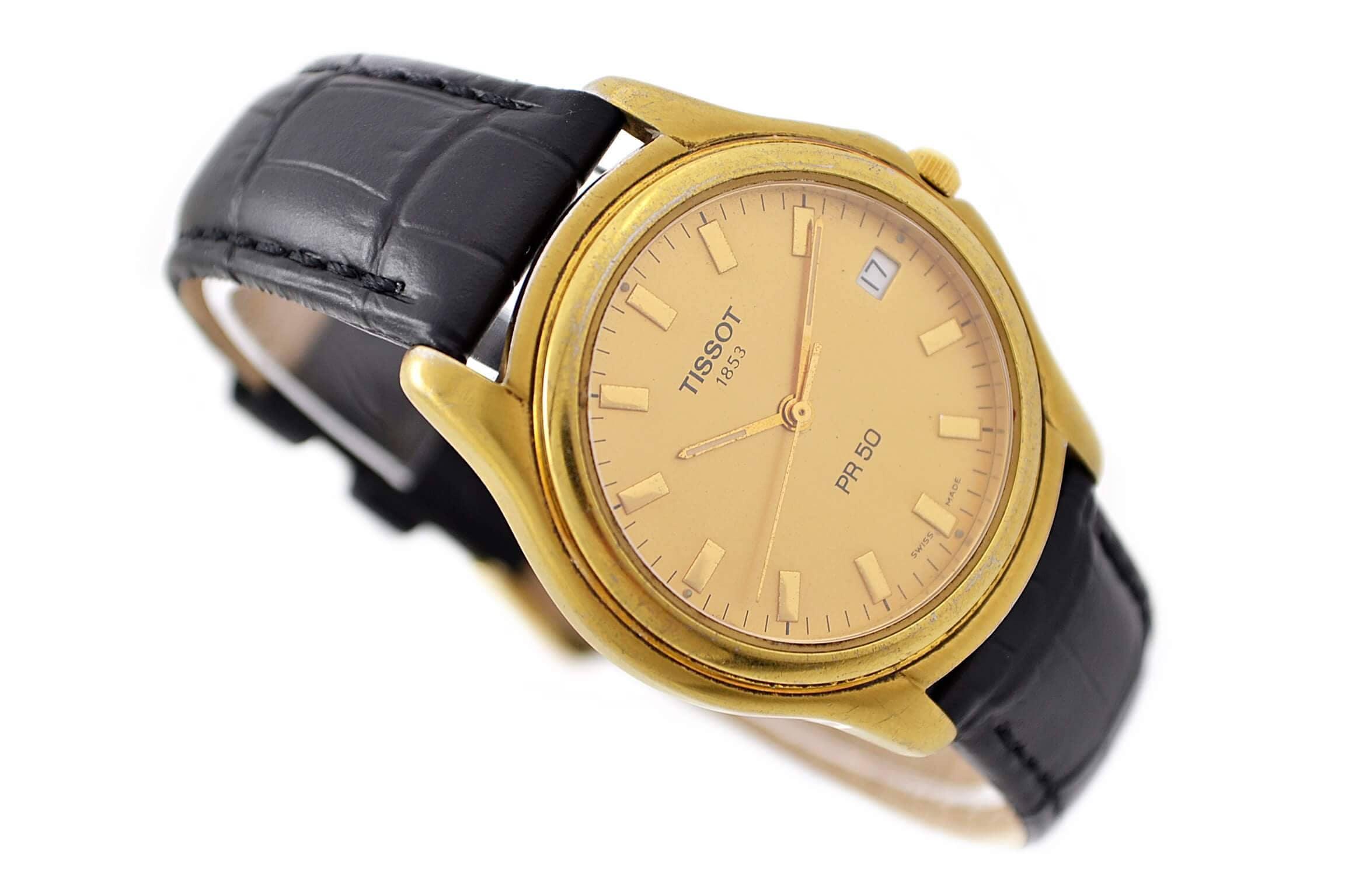 Vintage Tissot PR50 Gold Plated Mens Quartz 1853 Watch 28  Make me an offer!