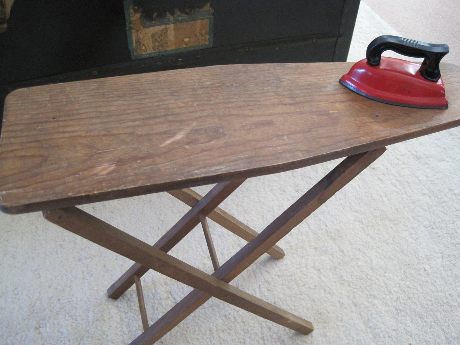 Vintage Primitive Child Ironing Board w / Red Toy Iron