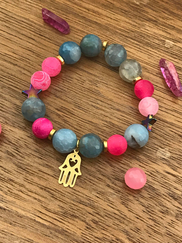 Gold Vermeil Bracelet Hamsa Charm Bracelet stretchbeaded stack bracelet Pink  Blue Agate Hematite Star Charm Bracelet stretch bracelet