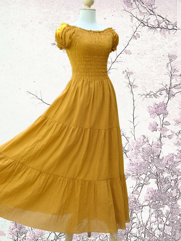 Long Mustard Beach Dress - Summer Dress / Off the Shoulder Dress / Yellow Dress / Women Smock Maxi Dress -  'Sweet Summer II' - idea2wear