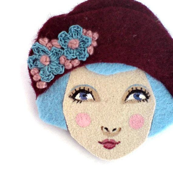 Flapper girl brooch felt - Louise, burgundy, blue, woman face
