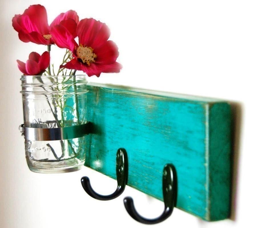 turquoise key hook wall key hanger mason jar vase cottage style handmade - OldNewAgain