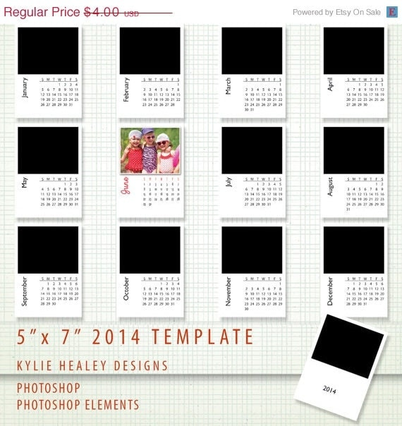 50% OFF SALE 2014 Calendar Template - 5 x 7 - PSD Photoshop and