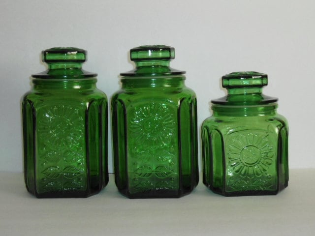 vintage green glass kitchen canister set by