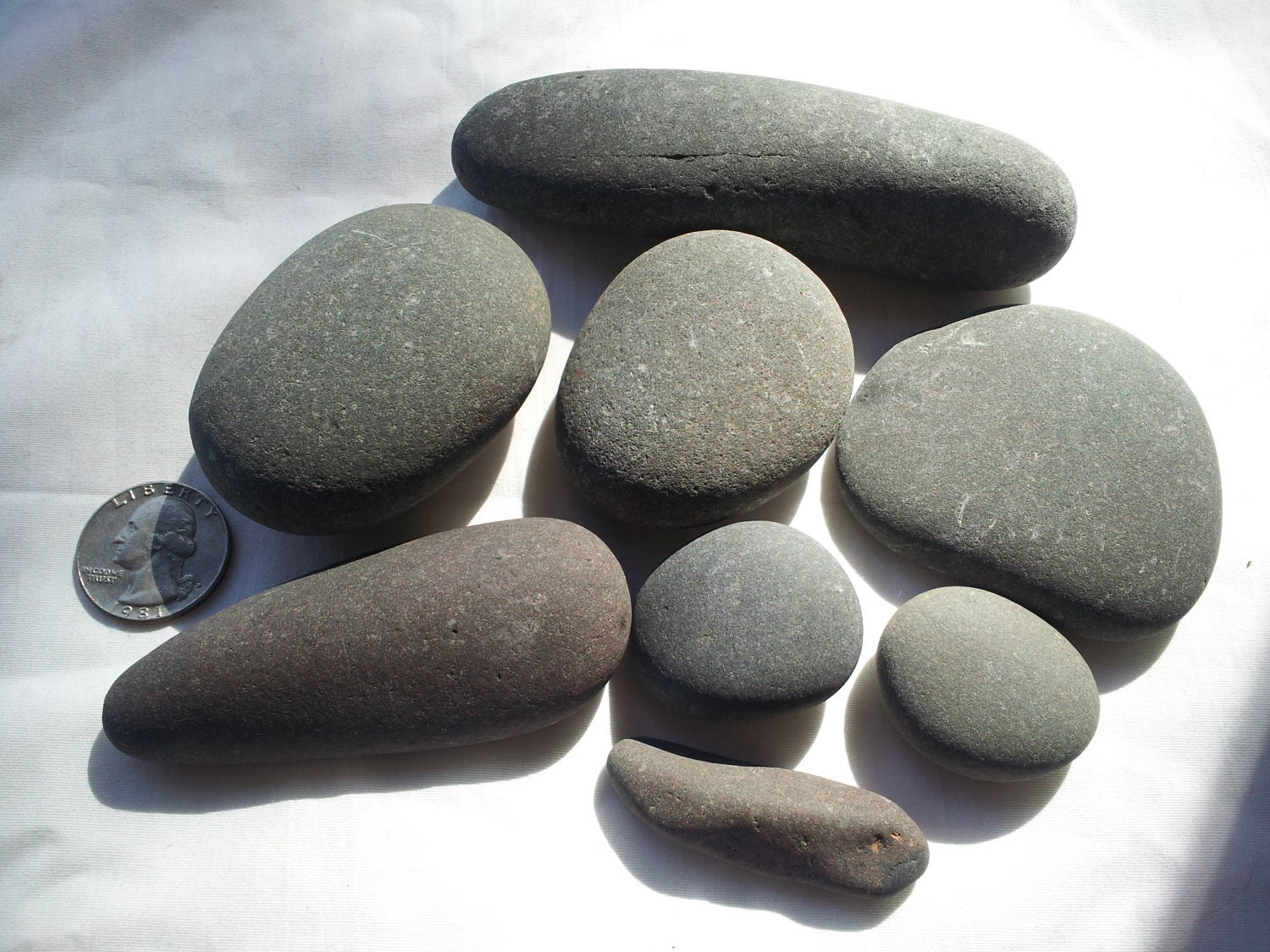 8 smooth gray stones river rock lake rock by naturecanvas22 for Smooth stones for landscaping
