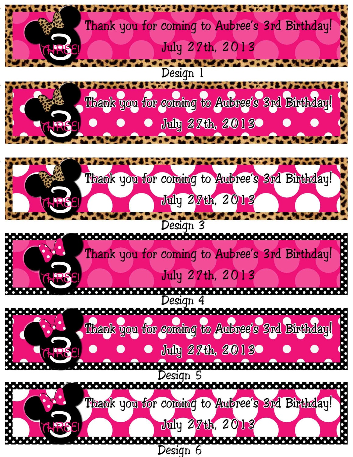 Pink Printable Minnie Mouse Water Bottle Labels By SkyeCreation