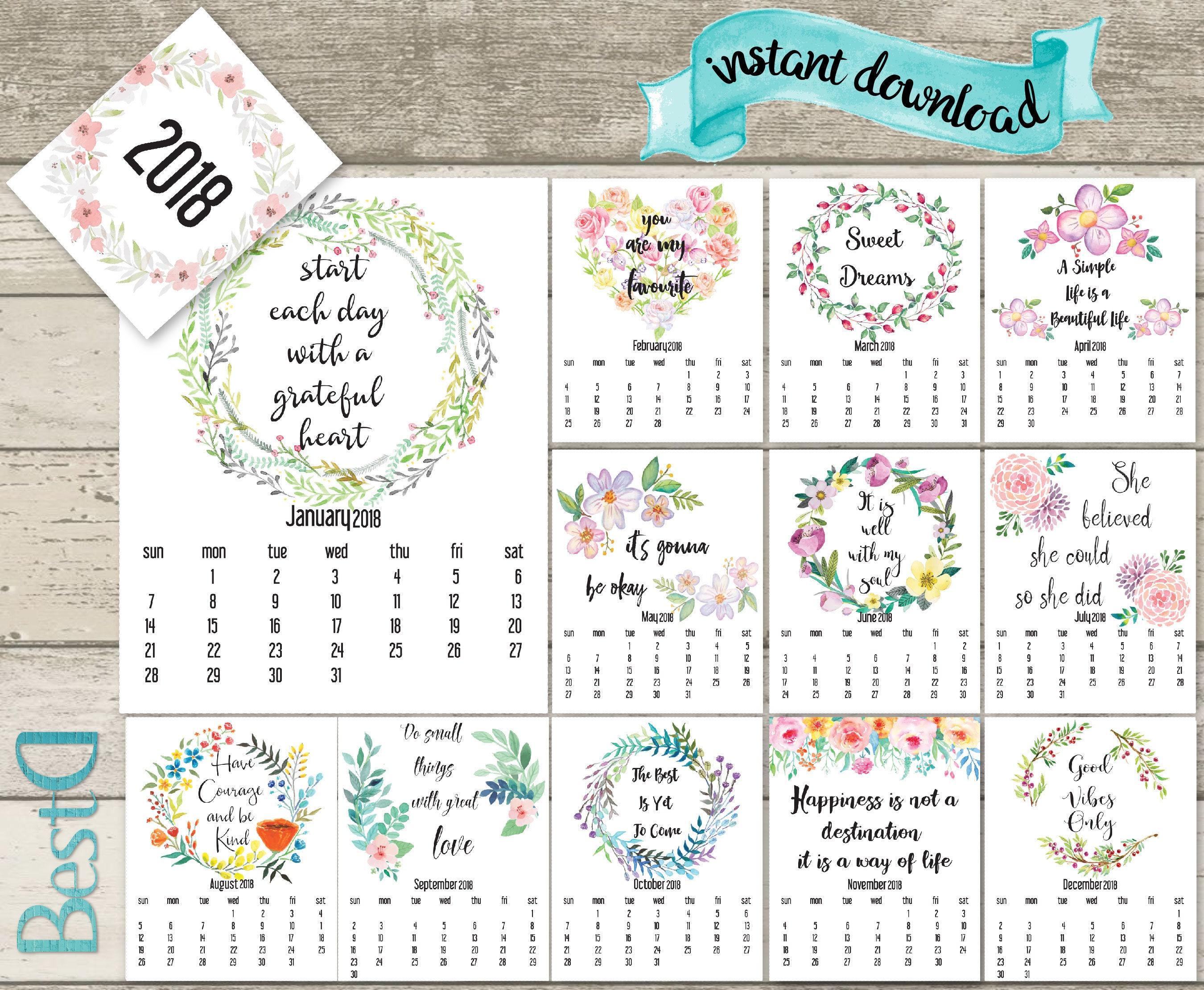 2018 printable planner calendarwatercolor planner