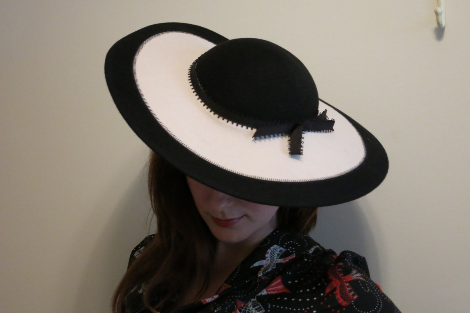 Picture Hat 1940s wide brim black and white felt film noir with bow by Bollman $125.00 AT vintagedancer.com