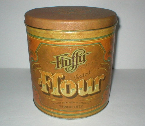 vintage canister flour canister fluffy brand by