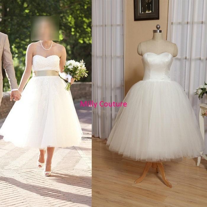 Tutu wedding dress tulle wedding dress short 1950 by for Sweetheart neckline tea length wedding dress