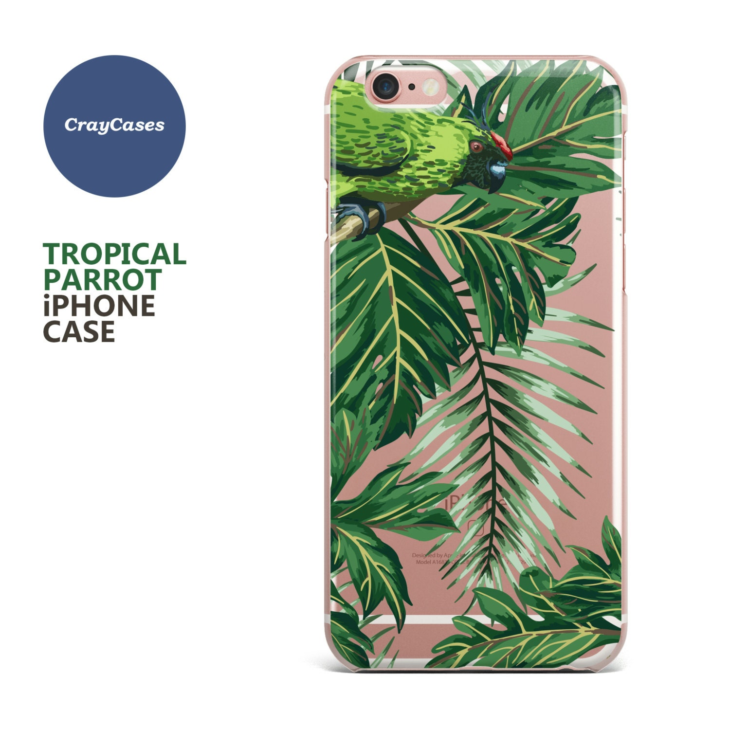 Parrots iPhone 7 Case Clear iPhone 6 Case Parrots iPhone 6s Case Leaves iPhone Case Also available for 6s Plus  6 (Shipped From UK)