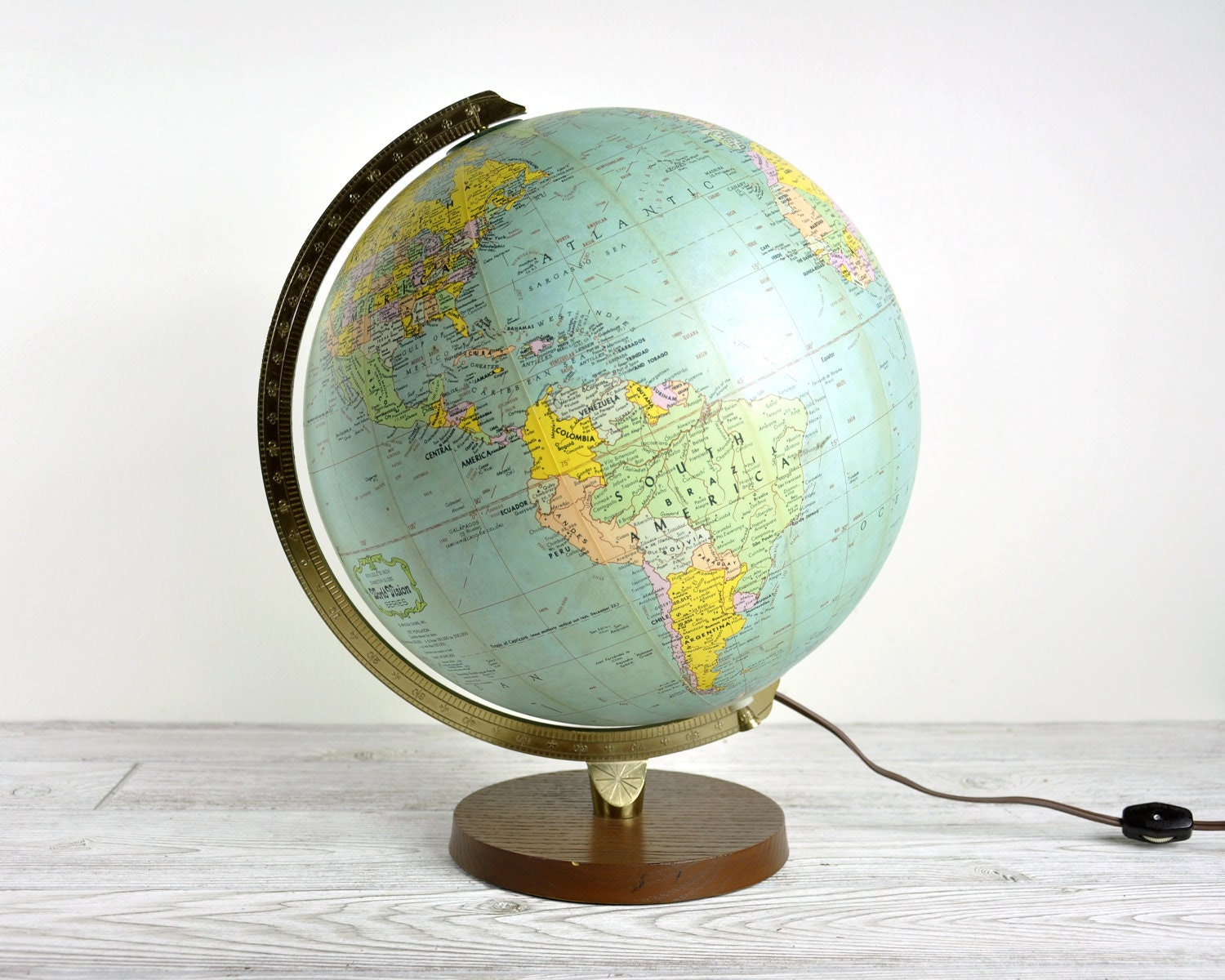 Vintage Illuminated World Globe Light Globe Lamp By Havenvintage