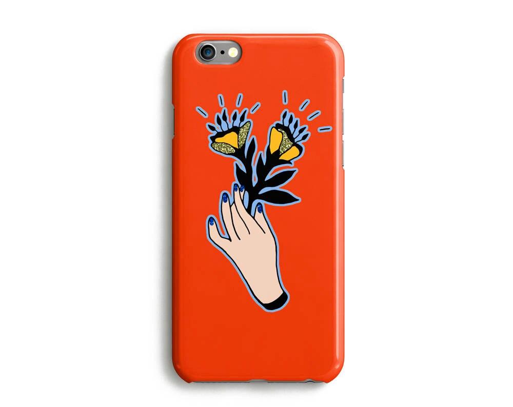 Flowers Hand Phone Case iPhone 7 6 6s Plus SE 5 5s 5c glitter floral plant phone case Samsung S8 S8 Plus Google Pixel Orange