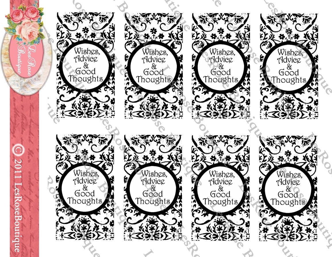 Wedding wish tree tags black and white wishes advice amp good thoughts
