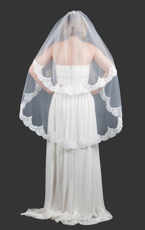 Wedding Veil - Two Tier French Alencon Lace Fingertip Wedding Veil