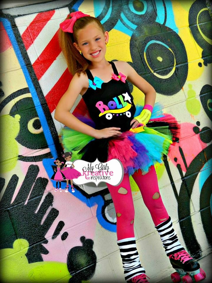 Items similar to Rock and Roller Skate - Retro 80u0026#39;s Baby Neon Rainbow Tutu Birthday Party Outfit ...