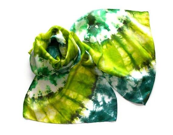 Silk Scarf Hand Dyed Lemon Green - SilkMari