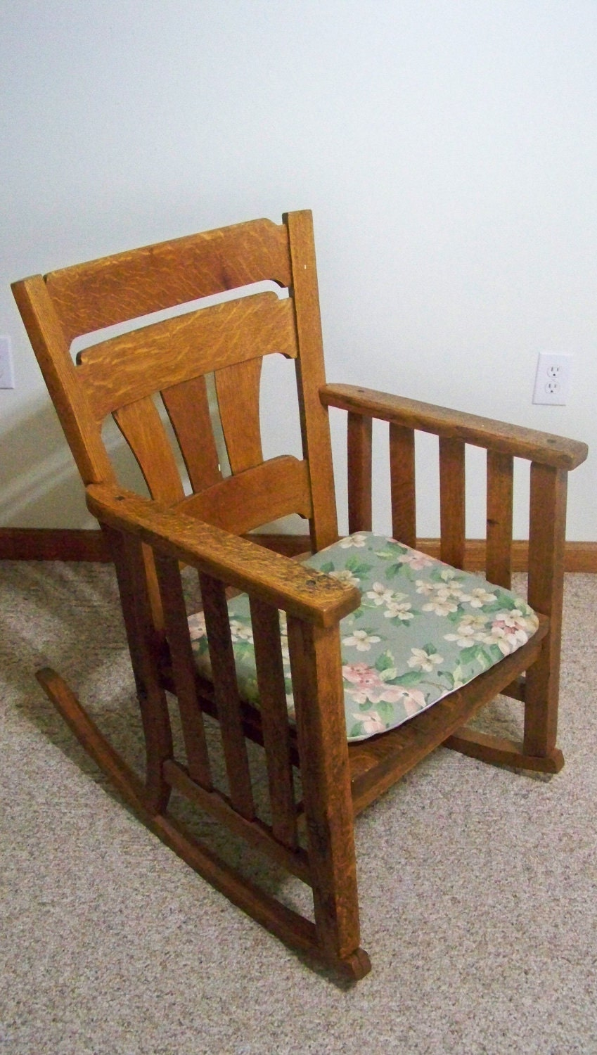 antique mission oak rocking chair by smakboutique on etsy