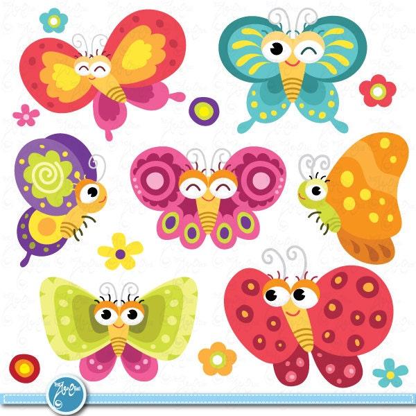Butterflies Floral Clipart ,Colorful,Butterflies design element for ...