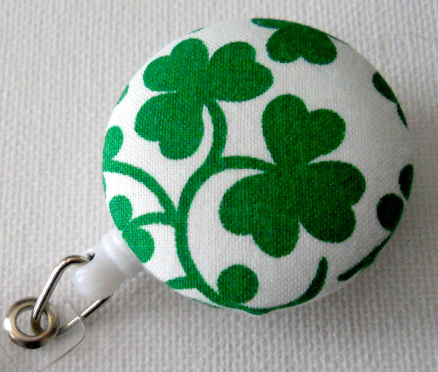 Badge Reel for St. Patrick's Day Clover Shamrock Kelly Green (Retractable) from fabric covered buttons, handmade by JEJEWELED