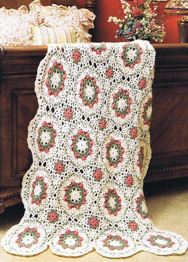 Crochet Afghan Pattern Wedding Gift : WEDDING WREATHS Crochet Afghan PATTERN by OneDollarDaisy ...