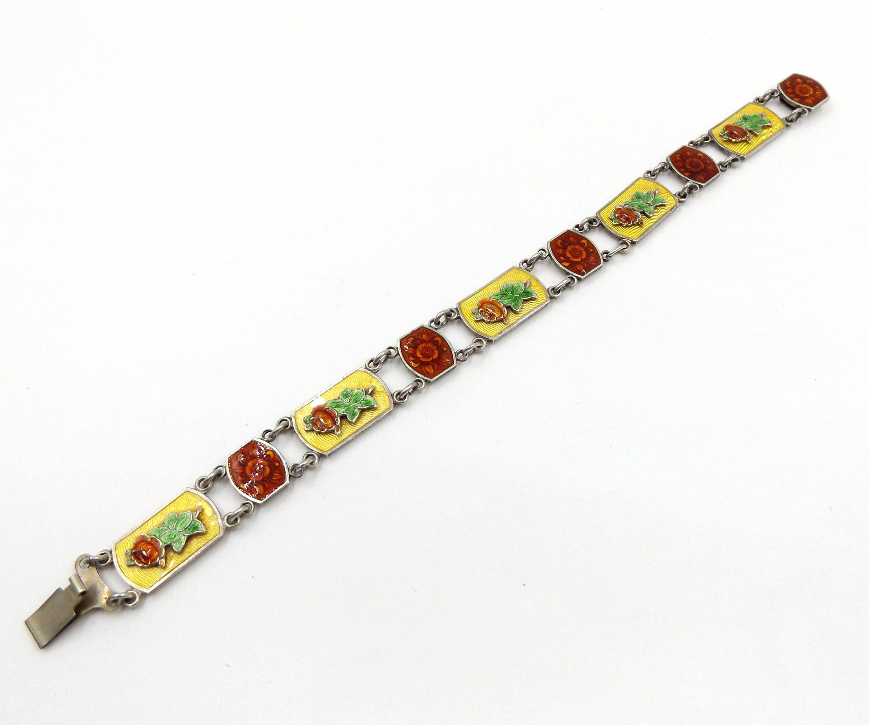 Antique Guilloche Enamel Bracelet  Sterling Silver BasseTaille Roses Bracelet