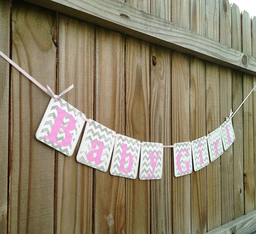 baby shower decorations chevron stripes baby girl banner baby shower